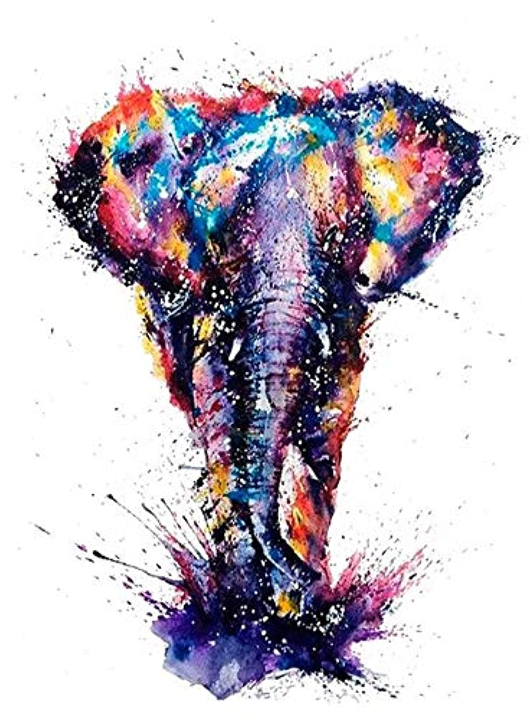 SuperDecor 5D DIY Diamond Painting Full Drills by Number Kits with 16'' Magnetic Poster Hanger Frame for Home Wall Decor, 16x24 Inch Colorful Elephant