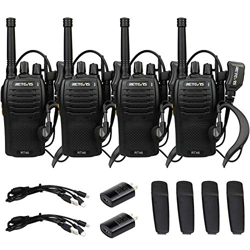 Retevis RT46 Walkie Talkies Adult Rechargeable,Long Range Two Way Radio with Earpiece,FRS Emergency Flashlight Dual Power VOX,2 Way Radio for Outdoor Use(4 Pack)