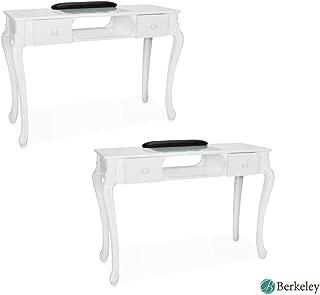 Set of 2, Manicure Table FIONA WHITE Nail Salon Furniture Queen Rise Style Nail Table Salon Furniture & Equipment