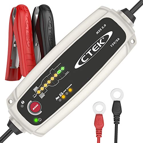 CTEK MXS 5.0 Caricabatterie Automatico (Carica, Mantiene e Ripristina Batterie da Auto e Moto) 12V, 5 Amp. – Presa Europea