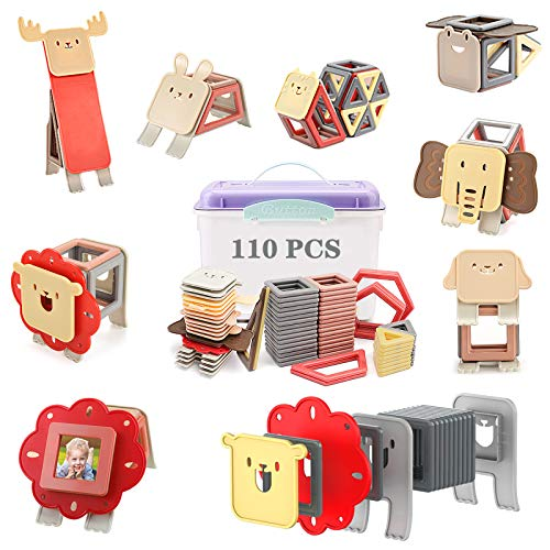 Animals Magnetic Blocks 110 PCS, Upgrade Magnetic Building Blocks, Magnetic Tiles, Educational Toys Tiles Set for Kids, Magnet Stacking Toys for Kids Children Age 3 4 5 6 7 Year Old