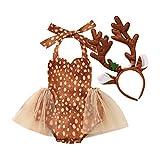 IBTOM CASTLE Disfraz de reno para recién nacido, con tutú de tul con cuernos, diadema para cosplay, cumpleaños, Navidad, fiesta, accesorio para fotos