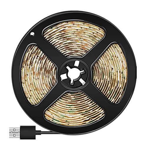 LMIAOM Tira de luz LED USB 5V cubierta de cinta del sensor de movimiento PIR Detector LED flexible impermeable de la lámpara 1M 2M 3M 2835SMD 4AAA energía de la batería Nueva barra de luz LED