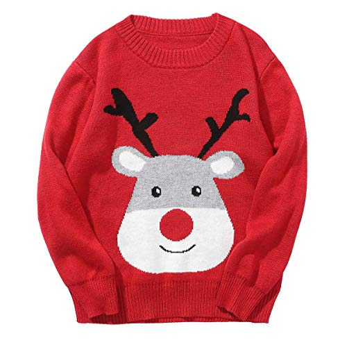Grandwish Baby Boys Girls Christmas Sweater, Toddler O-Neck Knitted Cotton Sweater 18M Red