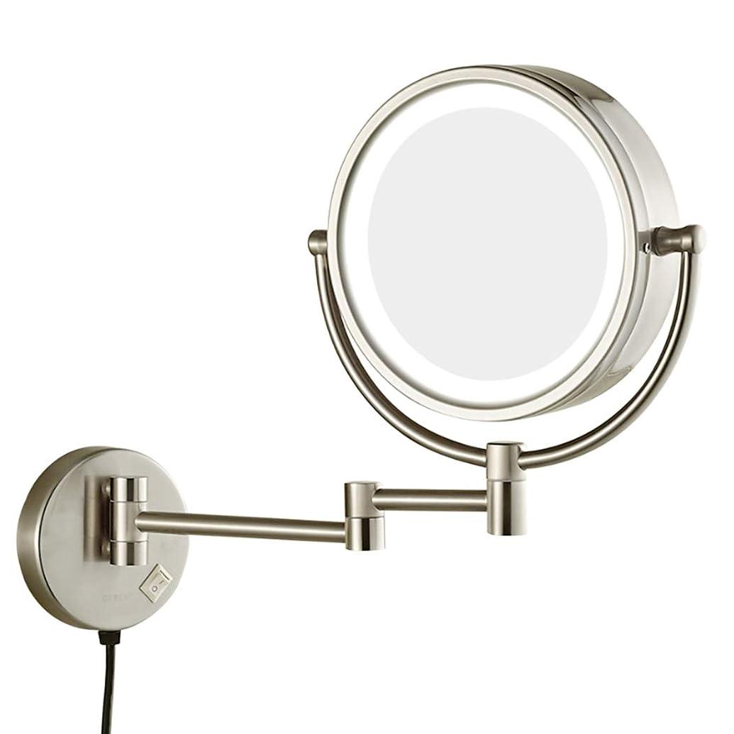 カウンターパート覆すホイットニー両面ウォールマウント拡大化粧鏡回転化粧台ミラー拡張可能化粧鏡、LEDライト付き,5X