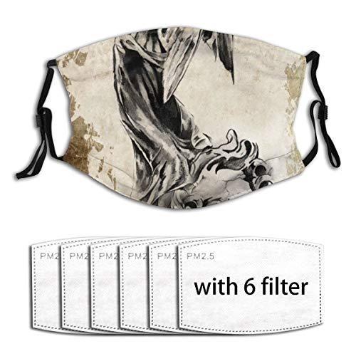 ZELXXXDA Tattoo Engel Mit Geige,Staubwaschbarer wiederverwendbarer Filter und wiederverwendbarer Mundschutz gesicht mit 6 Filtern