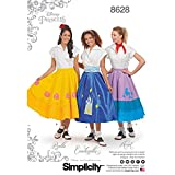 Simplicity 8628 Women's Disney Princess Costume Poodle Skirt Sewing Pattern, Sizes 6-14