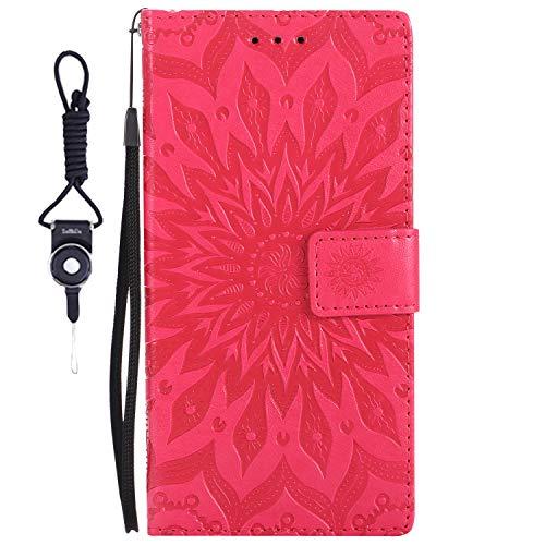 SsHhUu LG G3 S Hülle, Echt PU Leder Hülle [Sun Flower] Kartenfach Standfunktion Magnet Ledertasche + Schlüsselband für LG G3 S/LG G3 Mini/LG G3 Beat / D722 (5.0