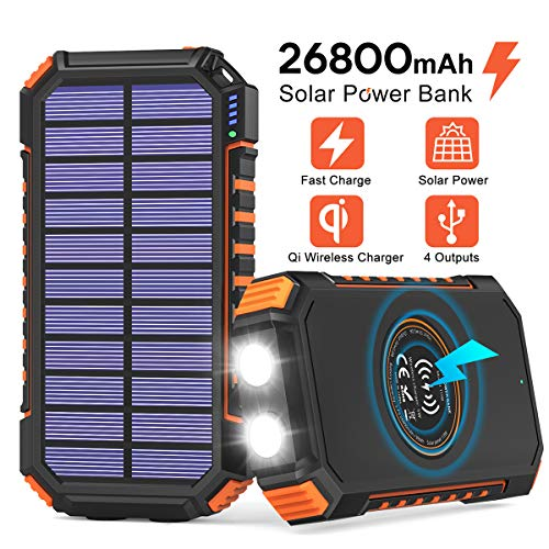 Solar Power Bank 26800mAh, Hiluckey Solar Charger with 4 Outputs Wireless Portable Charger USB C External Battery Pack Quick Charge 3.0A with Dual Flashlights for Smartphones, Tablets, Switch