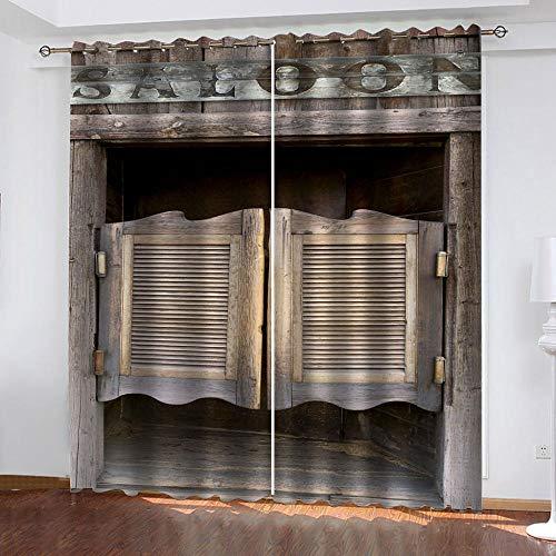 LucaSng Retro Cortinas habitacion Opacas 2 Piezas largas Cabina Cortinas Cocina Cortas para Ventanas 3D Patrón Cortinas Infantiles habitacion Opacas con Ojales 140x200 cm