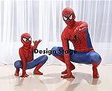 リニュアル スパイダーマン風 Spider Man 全身タイツ コスプレ 衣装 コスチューム 子供 大人用 ハロウィン MV003 (110-120cm, タイプA)