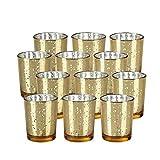 Juego de 12 portavelas de cristal para velas votivas de mercurio para bodas, fiestas, decoración del hogar, cumpleaños, novia, centros de mesa (dorado)