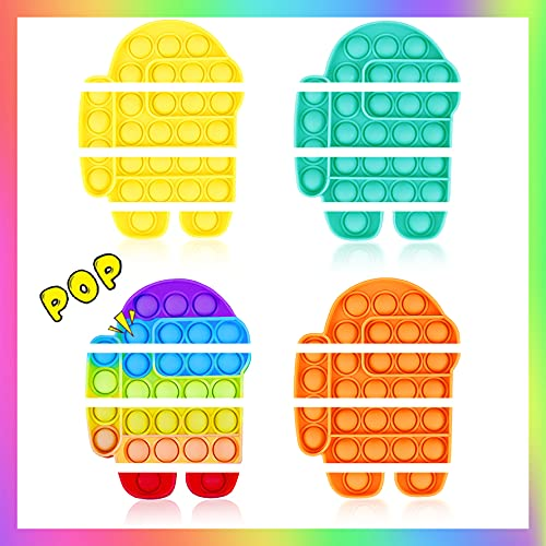 Woplagyreat 4 Pack Pop Fidget Rainbow Figetget Sensory Toy Popping,Anxiety Autism Relieve Relief...
