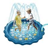 MOMSIV Alfombra de juego de agua para espolvorear salpicar, azul, duradera, portátil, inflable para niños, piscina antideslizante espolvorear para verano, jardín al aire libre, playa y jardín pequeños