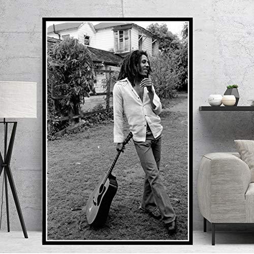 Cartel e Impresiones HD Bob Marley Singer Star Cuadros de Arte de Pared Lienzo Pintura Regalo Decoración para el hogar sin Marco 42 * 60 cm