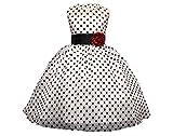 GIO151 Vestido Blanco Bolas Negras Fiesta Cumpleaños Bautismo Ceremonia Verano/Invierno Ropa Infantil Princesa Fiesta Gala Talla 7 años Vestido Boda Ropa Niñas Comunion Dama de Honor (7 años)