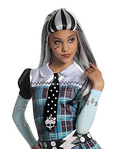 Monster High Frankie Stein Halloween Gothic Kinderperücke lang weiss schwarz