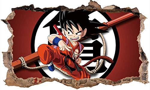 Effekt Wandtattoo- Dragon Ball Anime 3D Schlafzimmer Dekoration 60X90Cm/Aufkleber/Durchbruch/Selbstklebendes Wandbild/Wandsticker/Stein/Wanddurchbruch/Wandaufkleber/Tattoo-A_80*120CM
