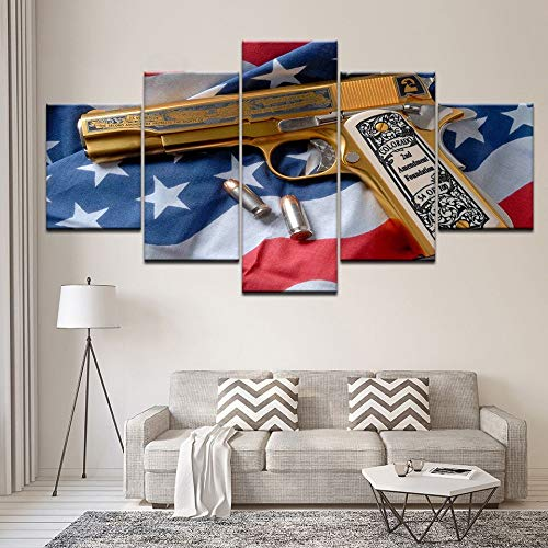N / A Rahmenlose Malerei Mode Leinwand Kunstsammlung modular 5 Stück Pistole minimalistischen Restaurant Wandbild Home DecorationCJX1515 20x35cmx2, 20x45cmx2, 20x55cmx1