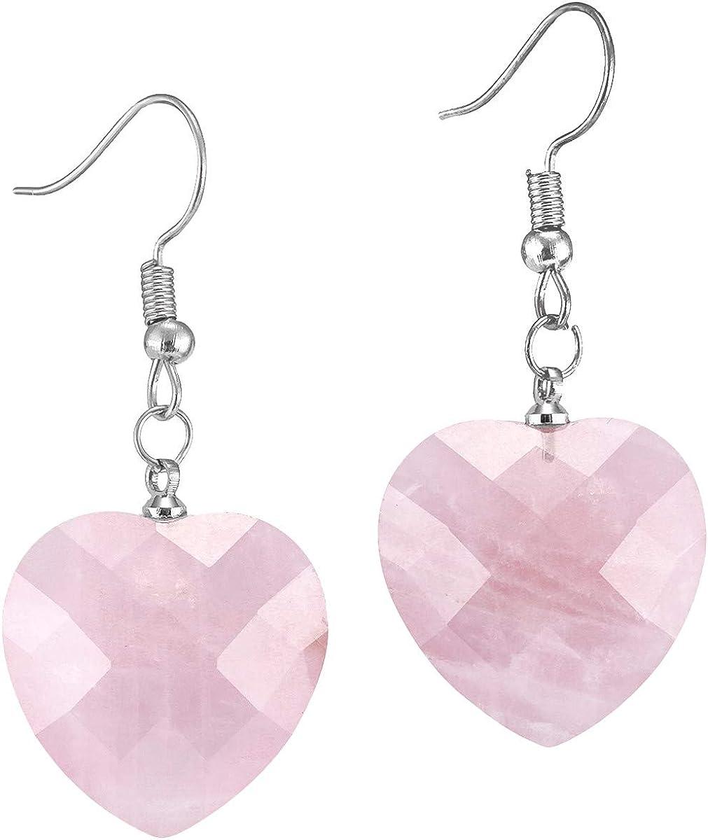 TUMBEELLUWA Healing Crystal Heart Drop Earrings for Women Love Faceted Quartz Fishhook Dangle Earrings