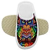 NNGQ Zapatillas de color búho frescas para niños de espuma viscoelástica suaves zapatillas de piel pelusa zapatillas de chico resbalones antideslizantes casa zapatillas para interiores y exteriores
