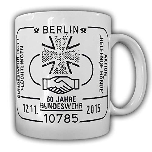 Tasse 60 Jahre Bundeswehr Berlin Helfende Hände Abzeichen Stempel Emblem Kaffee Becher #24087