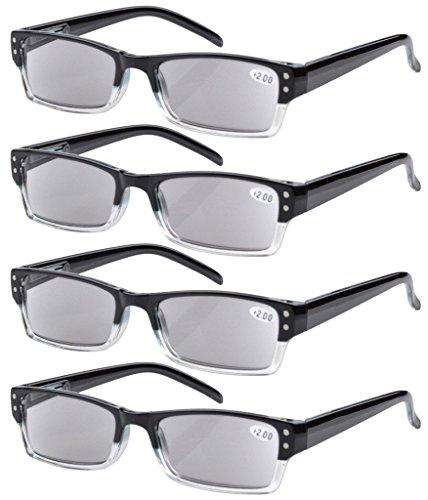 Eyekepper 4 stuks veren-scharnier leesbril, zon leesbril Grijze Lens +2.00