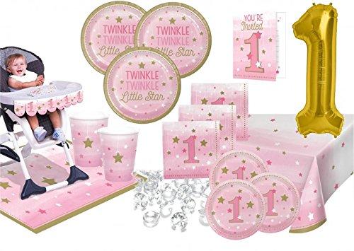 KPW XXL 62Piezas Primer Cumpleaños blinke pequeño Estrella Rosa para Fiestas (8Personas