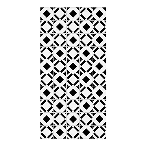 DON LETRA Alfombra Vinílica con Diseño de Baldosas - 100 x 50 cm - Material Impermeable y Lavable - Grosor de 2 mm, Color Blanco y Negro, ALV-013