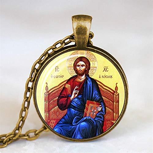 AMINIY Bendición del Collar Virgen María Colgante Joyas De Vidrio Regalos For Hombres Mujeres (Color : 1)
