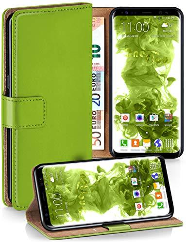 moex Premium Handytasche kompatibel mit Samsung Galaxy S8 - Klapphülle mit Kartenfach und Ständer, magnetische Handy Tasche - Flip Case Schutzhülle, Grün