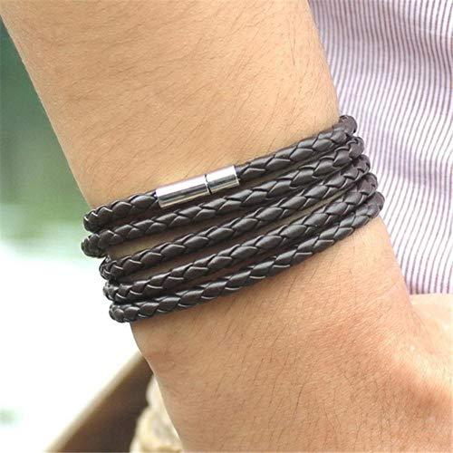 Qingsb 1 stuks retro wrap lange lederen armband heren armbanden Chain link mannelijke bedelarmband, B1048-2
