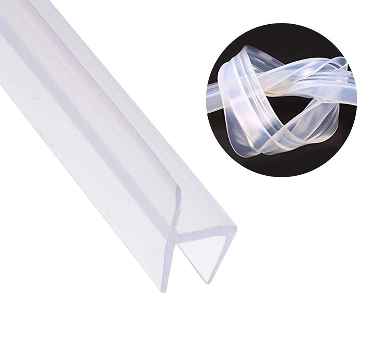 Shower Door Seal Strip Frameless Weatherproof Door Seal Flexible Silicone Sweep for Door and Windows, Flexible Silicone Seal Fit for 3/8