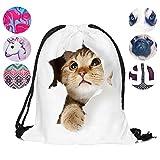 Schultertasche / Rucksack mit Kordelzug aus Nylon, faltbar, Aufbewahrungsmöglichkeit für Schule, Zuhause, Reisen, Sport, weiße katze