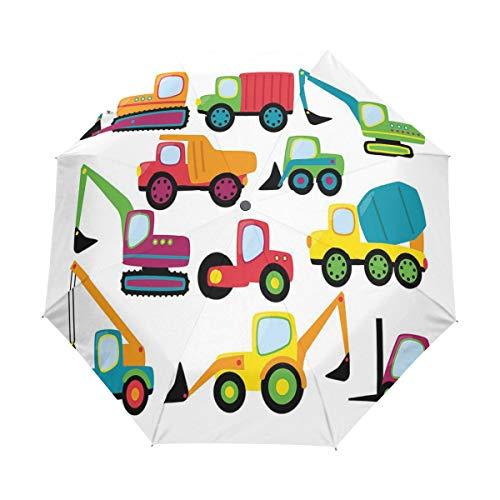 SUHETI Paraguas automático de Apertura/Cierre,Cute Style Vehículos y Equipo Pesado Carretilla elevadora Excavadora mezcladora de Tierra,Paraguas pequeño Plegable a Prueba de Viento
