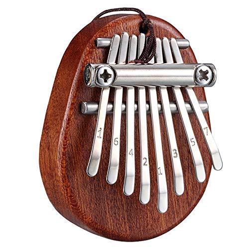 XSWY 8 Key Mini Kalimba Exquisite Finger Daumenklavier Marimba Musik Gut Zubehör Anhänger Geschenk Einfach zu verwenden (Farbe : Dark brown)