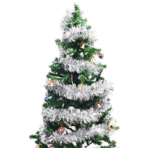 BELLE VOUS Silber Lametta (3 Stück) - 3m Silberne Lametta Dekoration Girlande für Weihnachtsbaum - Weihnachtsdeko Lametta für Wand Fenster Kranz Treppen Geländer Füllbare Kugeln Decke Party Deko