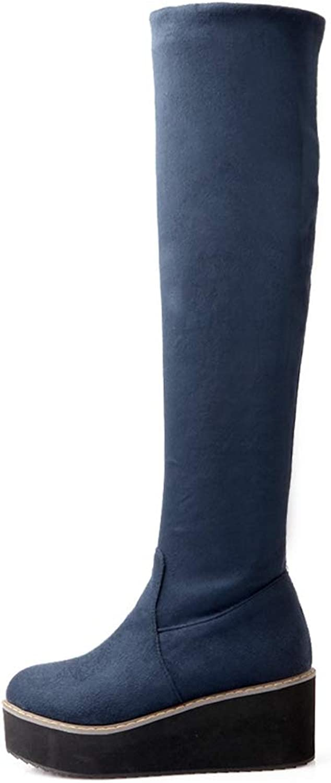 Winter Women Over The Knee High Heels Wedges Boots Female Velvet Thigh High Platform Lady Long bluee shoes