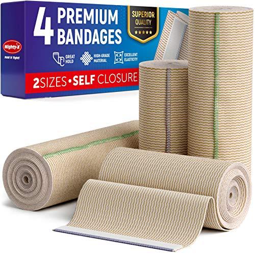 "Premium Elastic Bandage Wrap - (Pack of 4) - Cotton Latex Free Compression Bandage Wrap - 4"" & 6"" Self-Closing - Washable & Reusable"