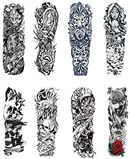 LLJEkieee 8 x Temporary Tattoo Sleeves Sheets Large Fake Black Full Arm Tattoo Stickers-18 Inches Length Waterproof Quick Removable Large Tattoo Sleves