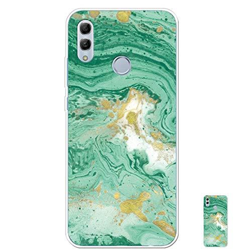 HopMore Silicone Coque pour Huawei P Smart 2019 / Honor 10 Lite Souple Motif Marbre Bumper Marble Belle Coque Protection, Etui Antichoc Antidérapant Housse pour Fille Femme Homme - Vert
