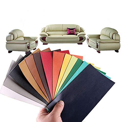Alumuk 13 Stück Lederreparatur Kunstleder Flicken Selbstklebend Patch Reparaturflicken für Leder Sofa Möbel Autositze und Taschen 10x20cm, 13 Farben (Schafsleder PU)
