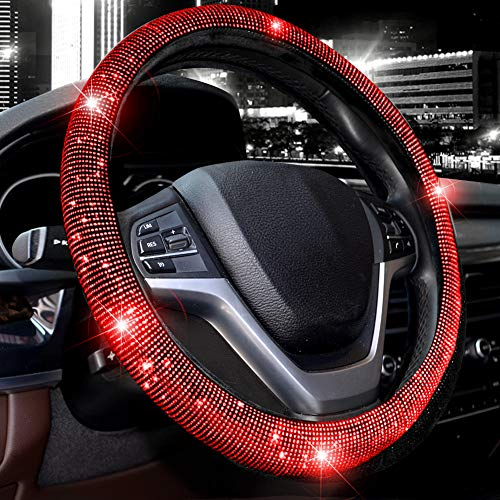 Valleycomfy Steering Wheel Cover for Women Bling Bling Crystal Diamond Sparkling Car SUV Wheel Protector Universal Fit 15 Inch (Black with Red Diamond,Standard Size(14' 1/2-15' 1/4))