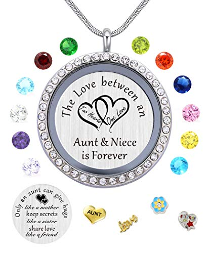 My Aunt Gifts from Niece, Magnetic Closure Living Memory Floating Charms Locket, 30mm Round Crystals Pendant Necklace with Birthstone