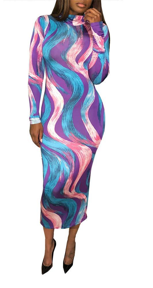 Available at Amazon: Ophestin Women Sexy Long Sleeve Turtleneck Floral Stripe Print Bodycon Slim Sheath Long Midi Pencil Dress