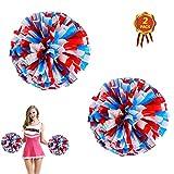 AUHOTA 2 Piezas Cheerleading Pompones de Animadora Pompón, Plástico de Animadora para Equipo de Deporte Animador de Espíritu Bola Danza Lujoso Vestido Noche Partido (6 Pulgada, Rojo/Blanco/Azul)