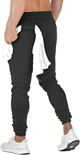 MECH-ENG Men's Running Joggers Pants Training Tapered Workout Sweatpants with Towel Loop