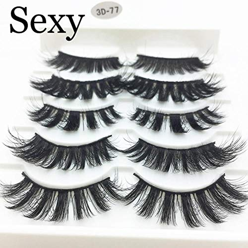 KADIS 5 Pairs Faux 3D Lashes Fluffy Wispy False Eyelashes Natural Long Eyelash Extension Makeup Handmade Fake Lash,3D-77,Lashes