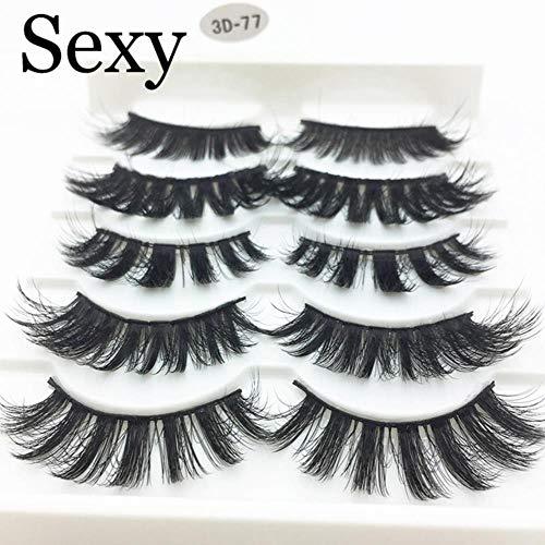 KADIS 5 Pairs Faux 3D Lashes Fluffy Wispy False Eyelashes Natural Long Eyelash Extension Makeup Handmade Fake Lash,3D-77,Lashes