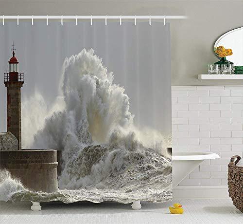 Aliyz Serie de decoración de Faros Grandes Olas soleadas en la Costa Norte de Portugal catástrofe de desastres Fotos de baño Cortina de Ducha Duradera Tela Impermeable fácil de Limpiar